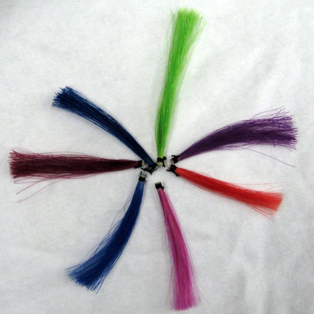 Samples of bow hair coloring